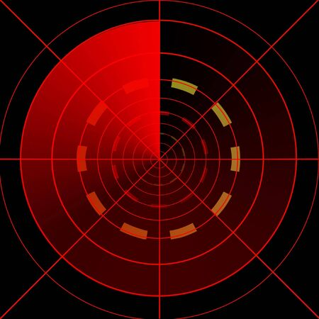 red radar screen on a dark black background photo