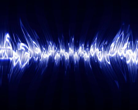 Visual representation of a soundwave on a dark background photo