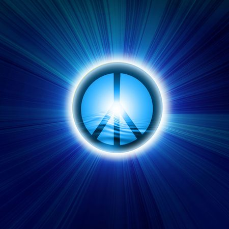 Peace symbol on a dark blue background