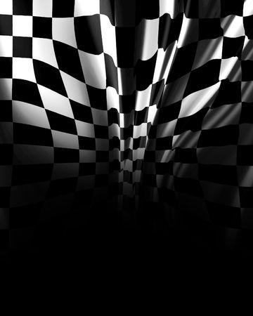 motor race: Geruite achtergrond fading in zwart met sommige plooien