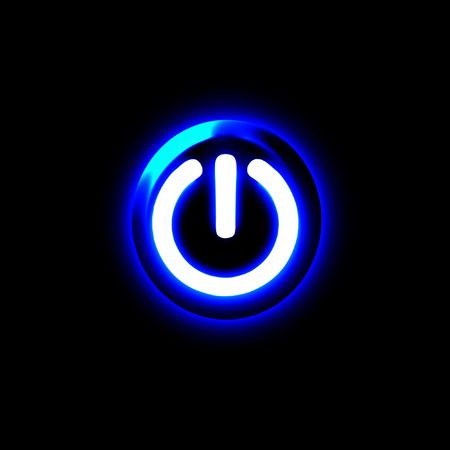 Blue glowing power button on a solid black background