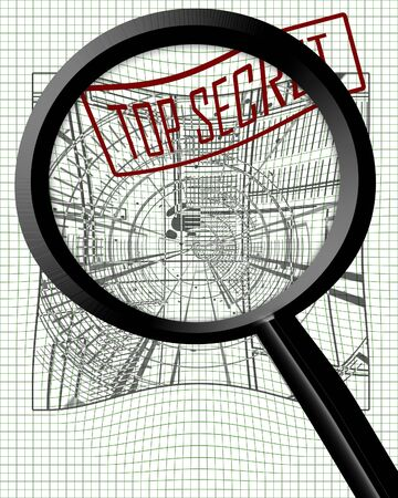 espionage: Industrial espionage with a magnifier on top of it
