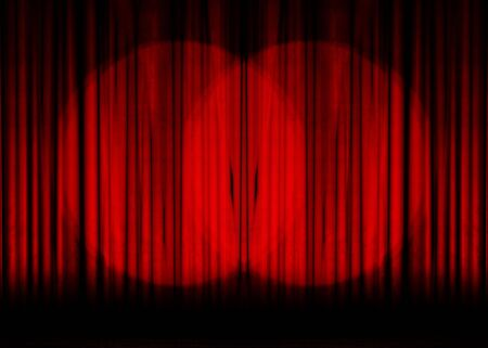 hollywood: Movie or theater curtain with double spotlight