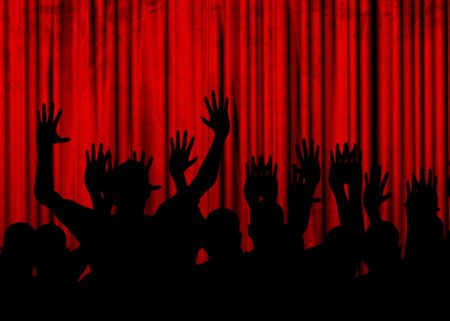 viewers: Movie or theater curtain with black silhouettes