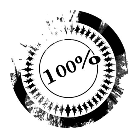 black stamp with hundred percent written on it photo