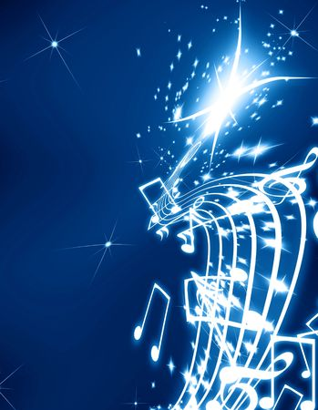 Musical notes on a glittering dark blue background photo