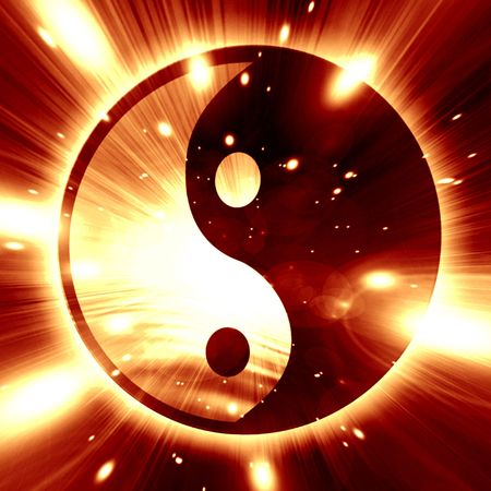 paz interior: Yin Yang se�al sobre un fondo oscuro