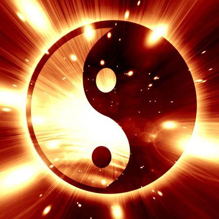 Yin Yang sign on a dark background photo
