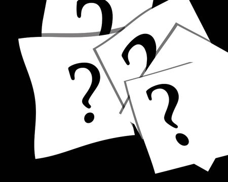 Question marks on white papers on a black background photo