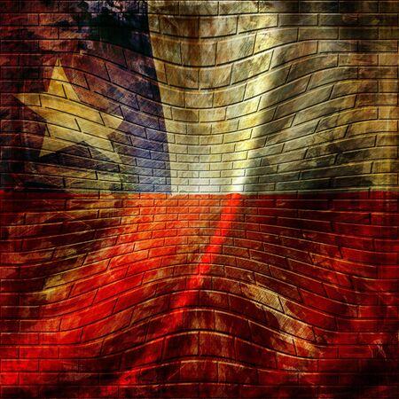 bandera chilena: bandera chilena pintada en una pared de ladrillos Foto de archivo