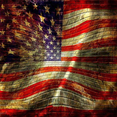 grafitti: american flag painted on a brick wall Stock Photo