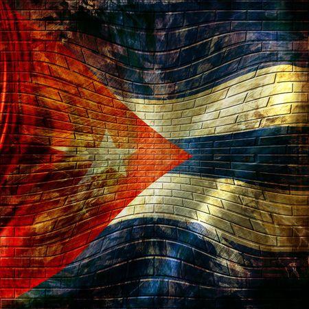 bandera cuba: bandera cubana pintada en una pared de ladrillos Foto de archivo