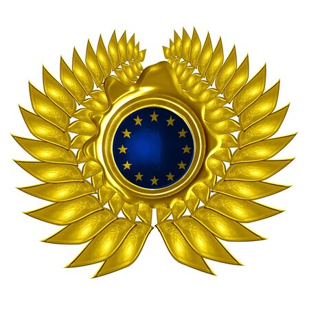 EU flag in a wreath on a white background photo