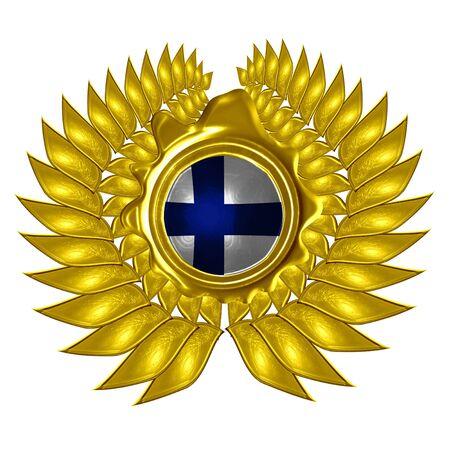 Finnische Flagge in einen Kranz auf einem weißen Hintergrund