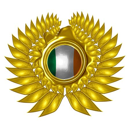 irish flag in a wreath on a white background Stock Photo - 5009108