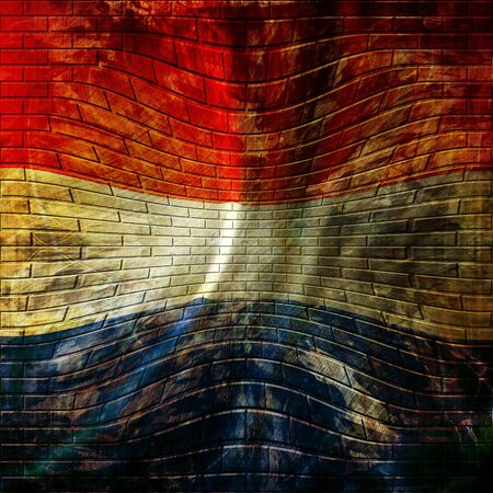 dutch flag painted on a brick wall photo