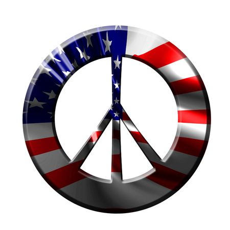 peace symbol with integrated american flag in it photo