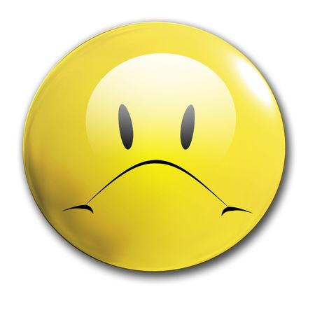 dissapointed: an unhappy smiley on a white background Stock Photo