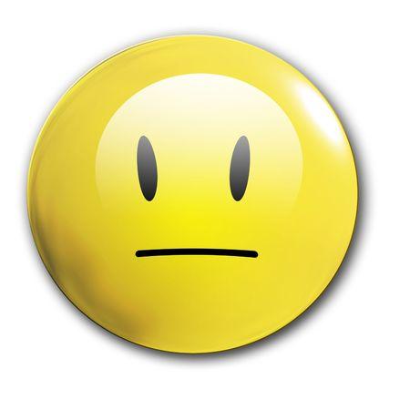 an unhappy smiley on a white background photo