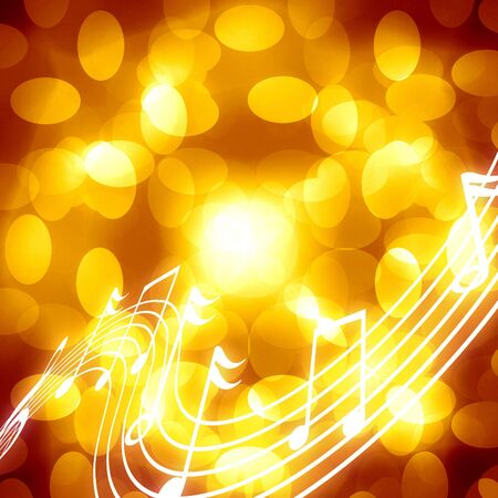 musical notes on a beautiful golden or yellow background photo