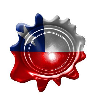 chilean flag: sello de cera con la bandera chilena en el mismo