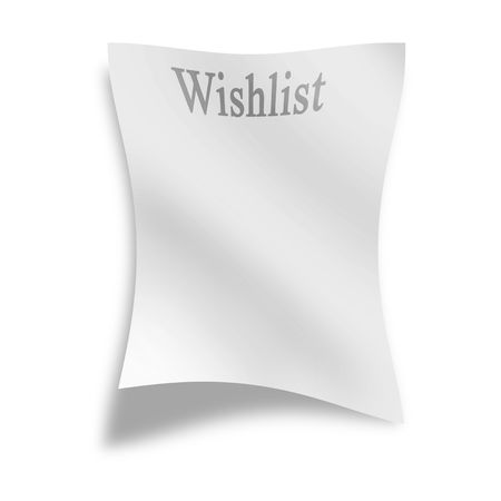 wishlist: memo on a white background with wishlist on it Stock Photo