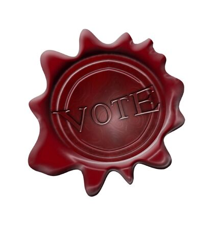 primaries: red wax seal on a white background