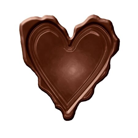 mariage: brown chocolate heart on a solid white background
