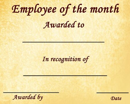 months: employee of the month certificate with some stains