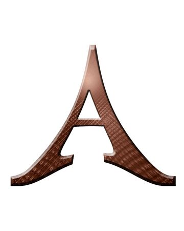dripping chocolate: brown chocolate letter A on a white background