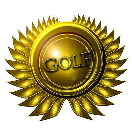 gold medal with golf written on it photo