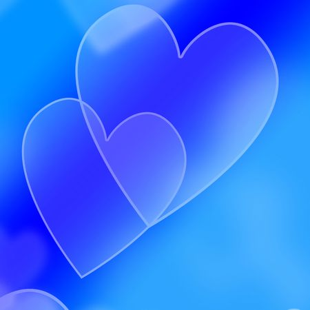 collection of hearts on a blue background Stock Photo - 5160897