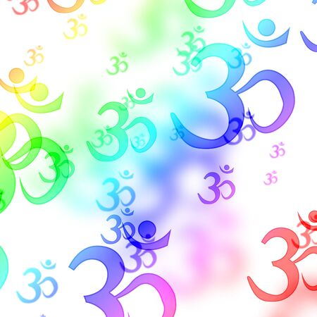 om aum symbols on a white background photo