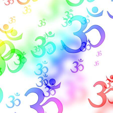 eastern philosophy: om aum symbols on a white background