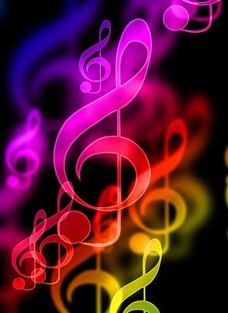 note musicale: Note di musica colorato su sfondo nero  Archivio Fotografico