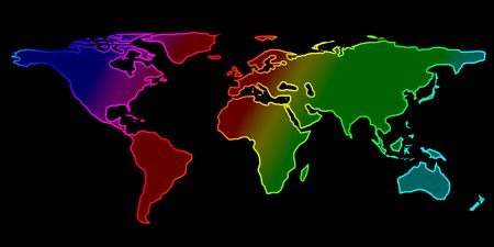 colorful world map on a black background photo