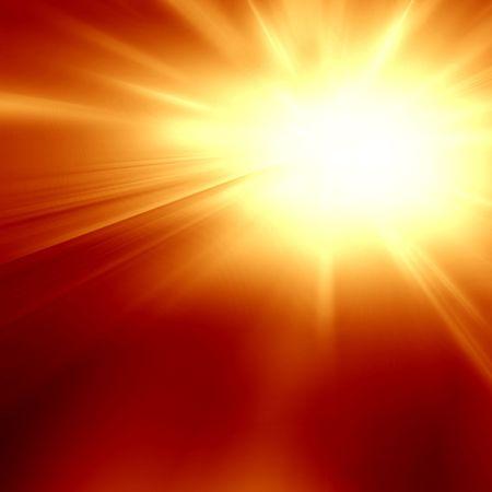 implode: bright sun in a dark orange background