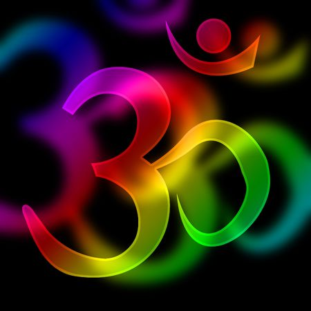 hindu god: om aum symbol on a black background Stock Photo