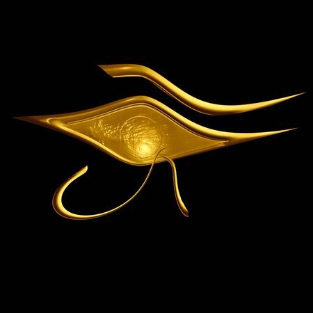 ojo de horus: s�mbolo egipcio: el Ojo de Horus sobre un fondo negro Foto de archivo
