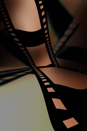 emulsion: Negative film strip on a soft brown background Stock Photo