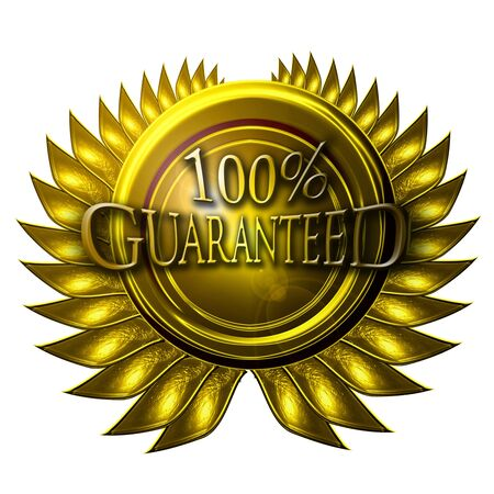 gold medal with 100% guaranteed written on it Stock Photo - 5160858