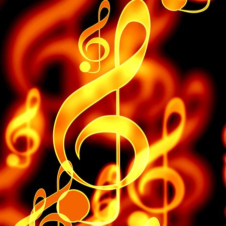 colorful music notes on a black background Stock Photo