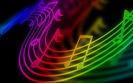 colorful music notes on a black background Stock Photo - 5160628