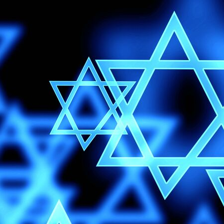 jews: stars of david on a dark background Stock Photo