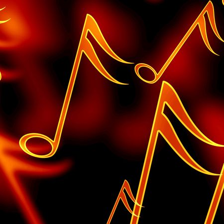 colorful music notes on a black background photo