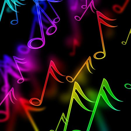 colorful music notes on a black background Stock Photo - 5160739