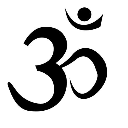 black om aum symbol on a white background photo