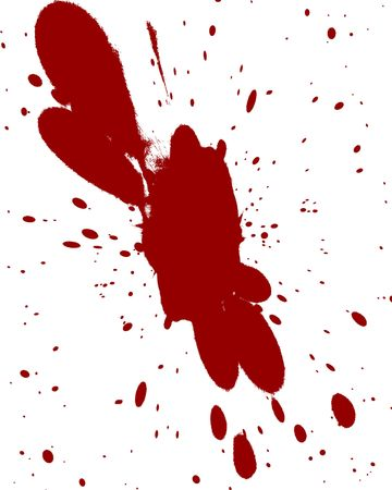 red blood splatter on a solid white background photo