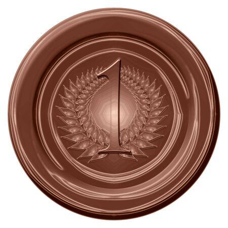 brown chocolate medal on a solid white background Stock Photo - 5160920