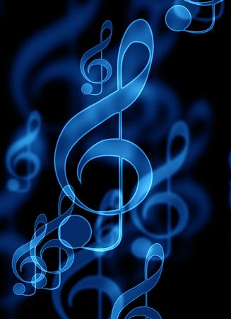 digital music: blue music notes on a black background